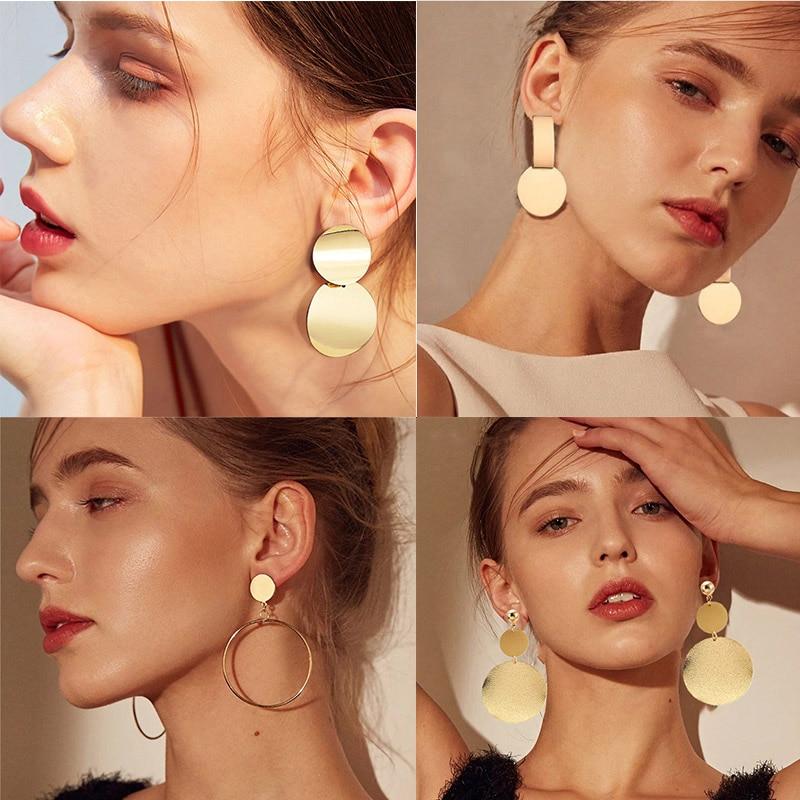Women fashion earrings 2019 Gold Metal Drop Dangle Earrings Vintage Statement Round Geometric Earring Fashion Jewelry