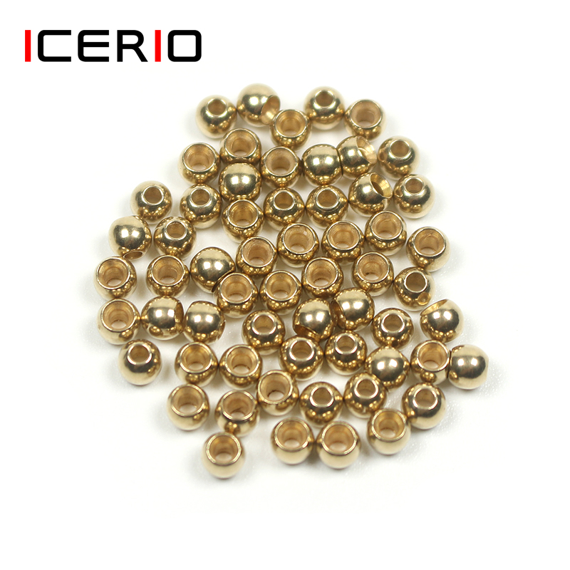 ICERIO 50PCS Fly Tying Brass Beads Nymph Streamer Bugs Fly Hook Tying Materials