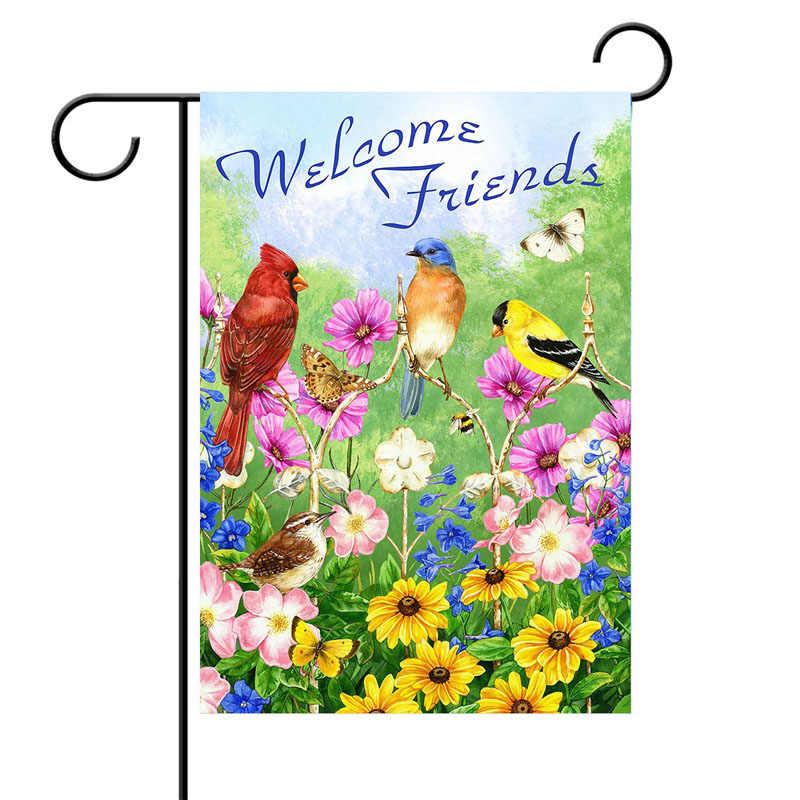 Welcome Friends Birds Flowers Butterfly Double Sided Garden Yard Flag 12 X 18 Summer Spring Flowers Daisy Hummingbirds Decora Flags Banners Accessories Aliexpress