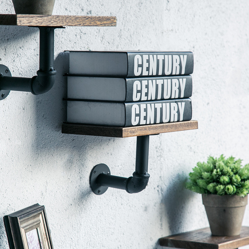 European Retro Wall Mount Wood Shelf Iron Pipe Holder Storage Floating Book Shelf Hanging Home Living Room Restaurant Bedroom