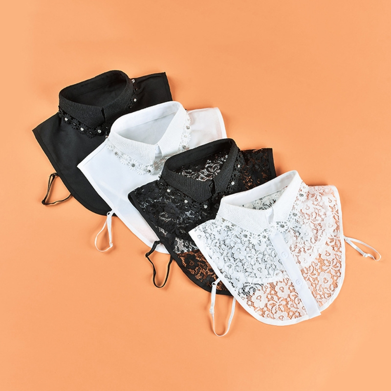Women Rhinestone Pearl Beading Lapel False Fake Collar Luxurious Jewelry Floral Tassels Detachable Half Shirt Blouse