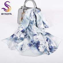 [BYSIFA] серый, белый, с чернилами, пион, женский шелковый шарф, дизайн, чистый шелк, длинный шарф, шаль, элегантные женские шарфы на шею