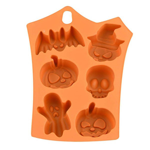 Pumpkin Bat 6 Grids Skull Ghost Shape Halloween Silicone Mold Chocolate Jelly Candy Festivals Decoration Pudding Mold Supplies
