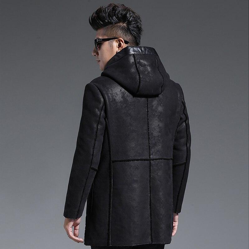Genuine Sheepskin Leather Jacket Men Autumn Winter Sheep Shearling Jacket Vintage Long Real Wool Fur Coat Q852 KJ1268
