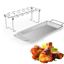 Non-Stick Barbecue Chicken Wing Leg Grill Stand Stainless Steel Vertical Roaster Wing Leg Rack BBQ Accessories Grill