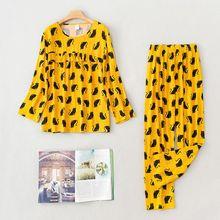Conjunto de pijama con dibujo fino para mujer, pijama de manga larga, ropa de casa informal, 2020