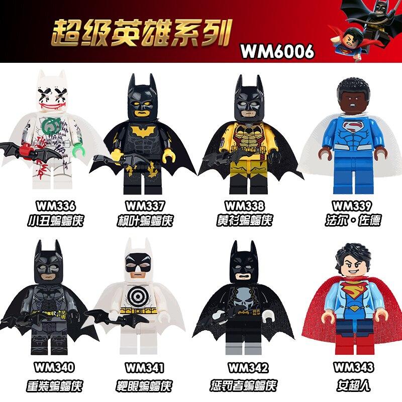 Wm6006 única venda marvel super heróis batman punisher batman val-zod figuras blocos de construção de plástico presente brinquedos para crianças diy
