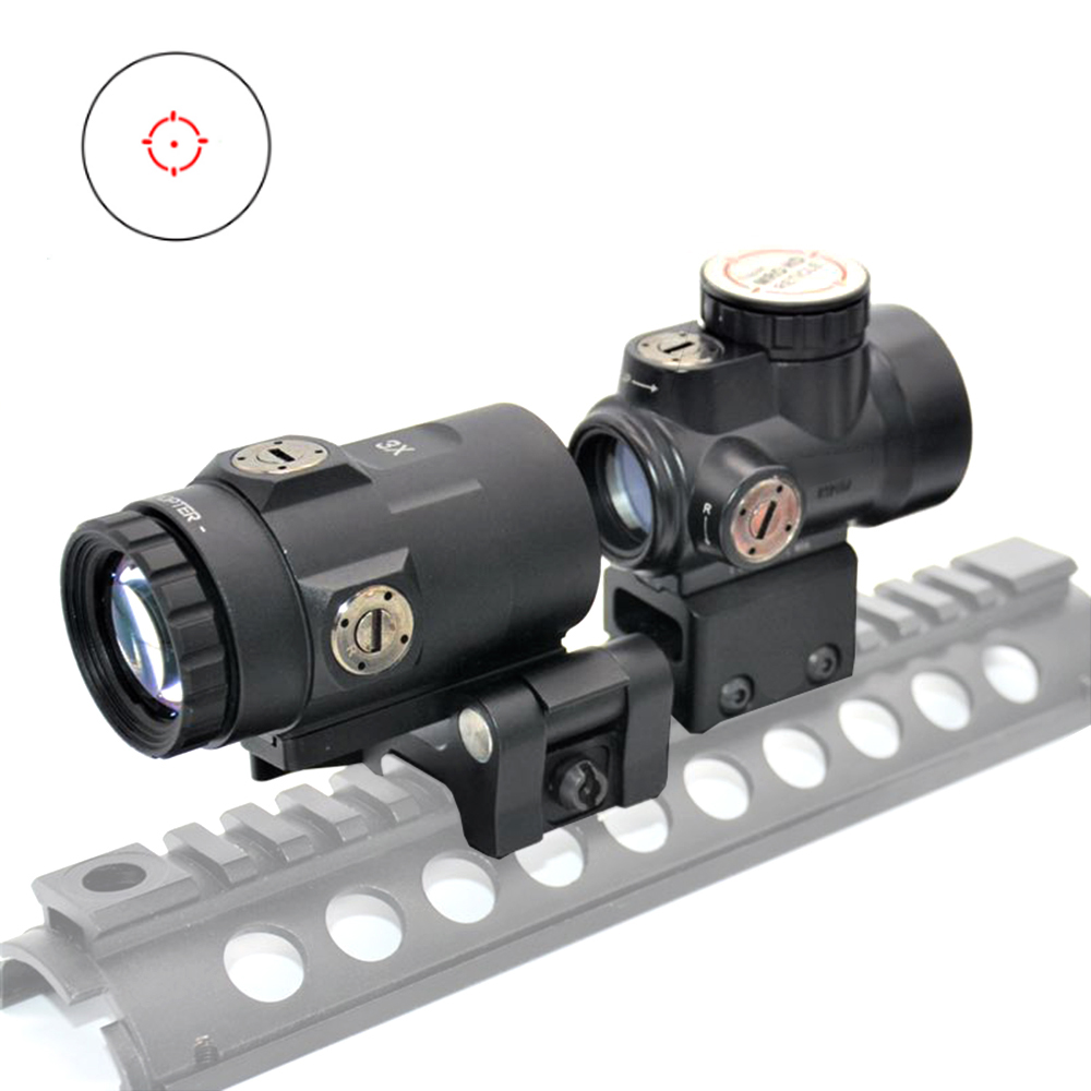Red Dot Sight Optical Scope With 3x Magnifier