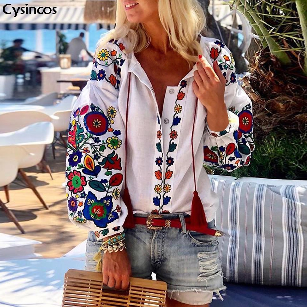 Women Floral Print Lantern Sleeve Blouse Bohemian Style Embroidery O-Neck Long Sleeve Fashion New Trends Spring Autumn Shirts