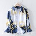 2020 camisas masculinas de manga comprida impressão 100% puro linho verão camisas casuais homem azul turn down colarinho camisa masculina tops blusa y2432