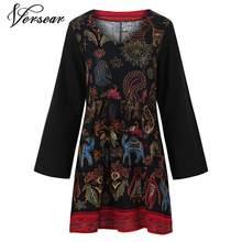 Versear Vintage kadınlar baskı elbise pamuk keten V boyun uzun kollu bölünmüş Hem artı boyutu gevşek rahat elbise yaz elbisesi kadınlar için