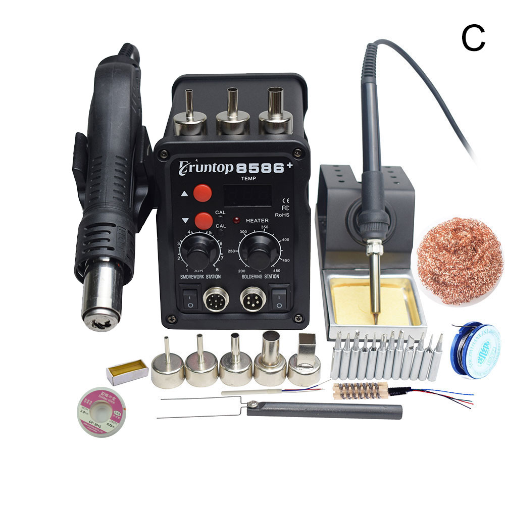 1 Set   Digital Display Eruntop 8586+  Electric Soldering Irons +Hot Air Gun SMD Rework Station Upgraded From 8586
