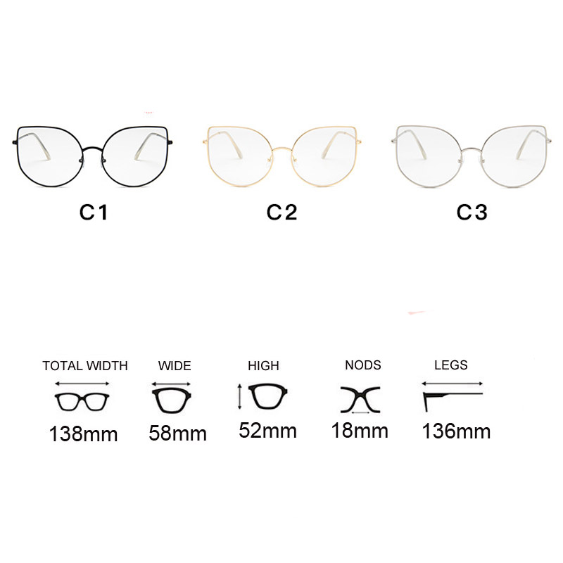 Oversized Clear Glasses Women Big Cat Eye Spectacle Frame Retro Female Metal Frame Fake Glasses Transparent Eyewear Oculos