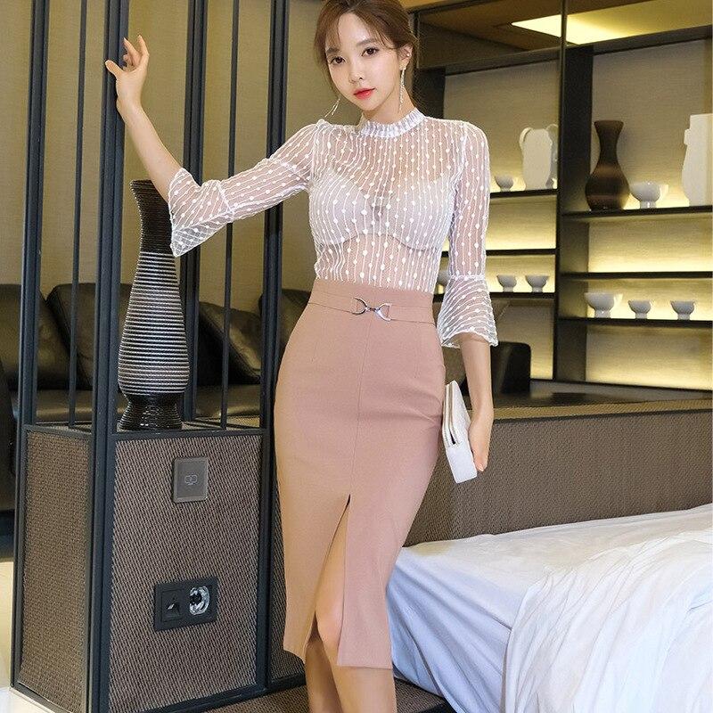 2020 Spring Clothing New Products Debutante Elegant Transparent Bell Sleeve Lace Upper Garment Waist Hugging Slit Skirt Two-Piec