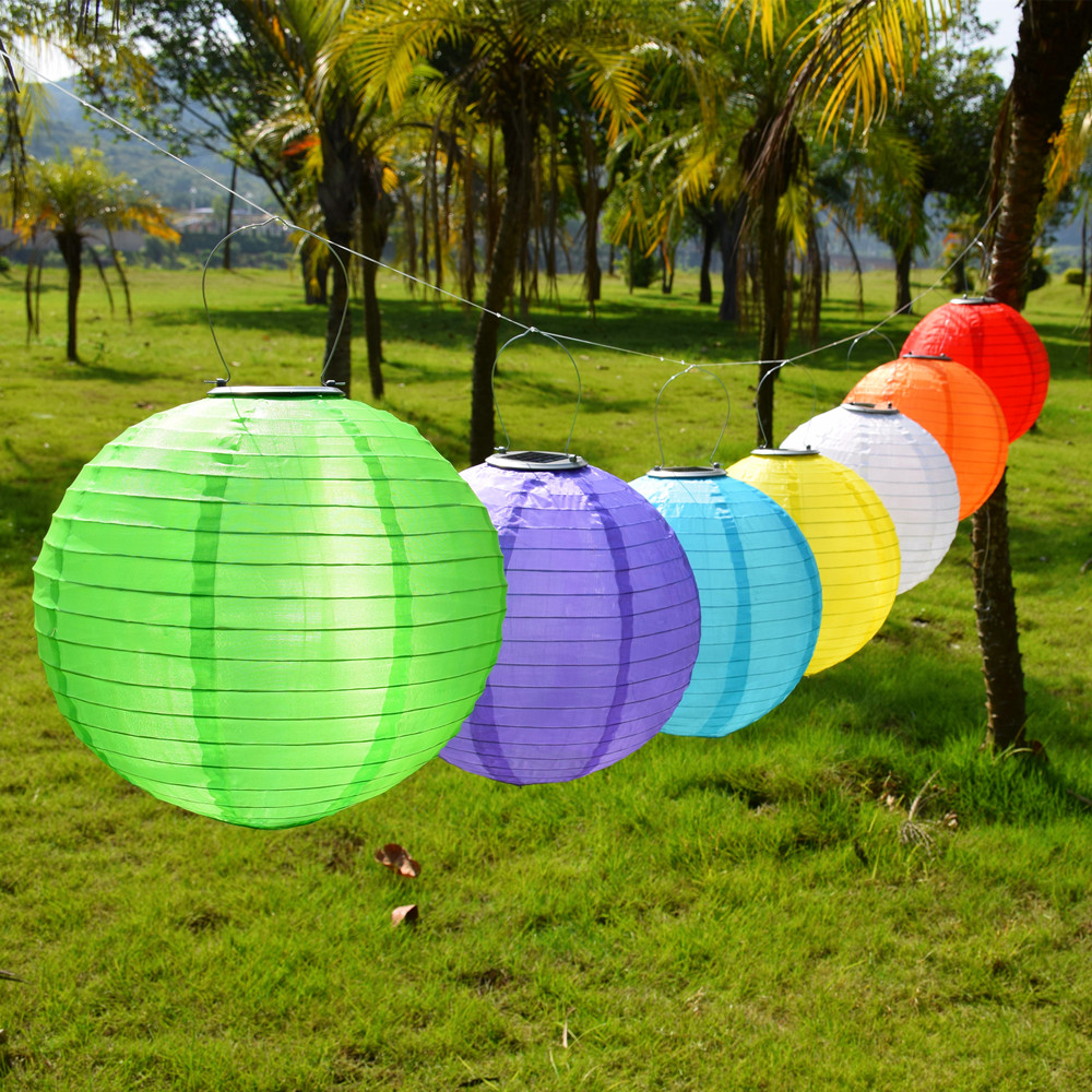 Garden Outdoor Solar Fairy Lights LED Festival Lanterns Hanging China Celebration Lamp Waterproof 7 colors Landscape Lighting