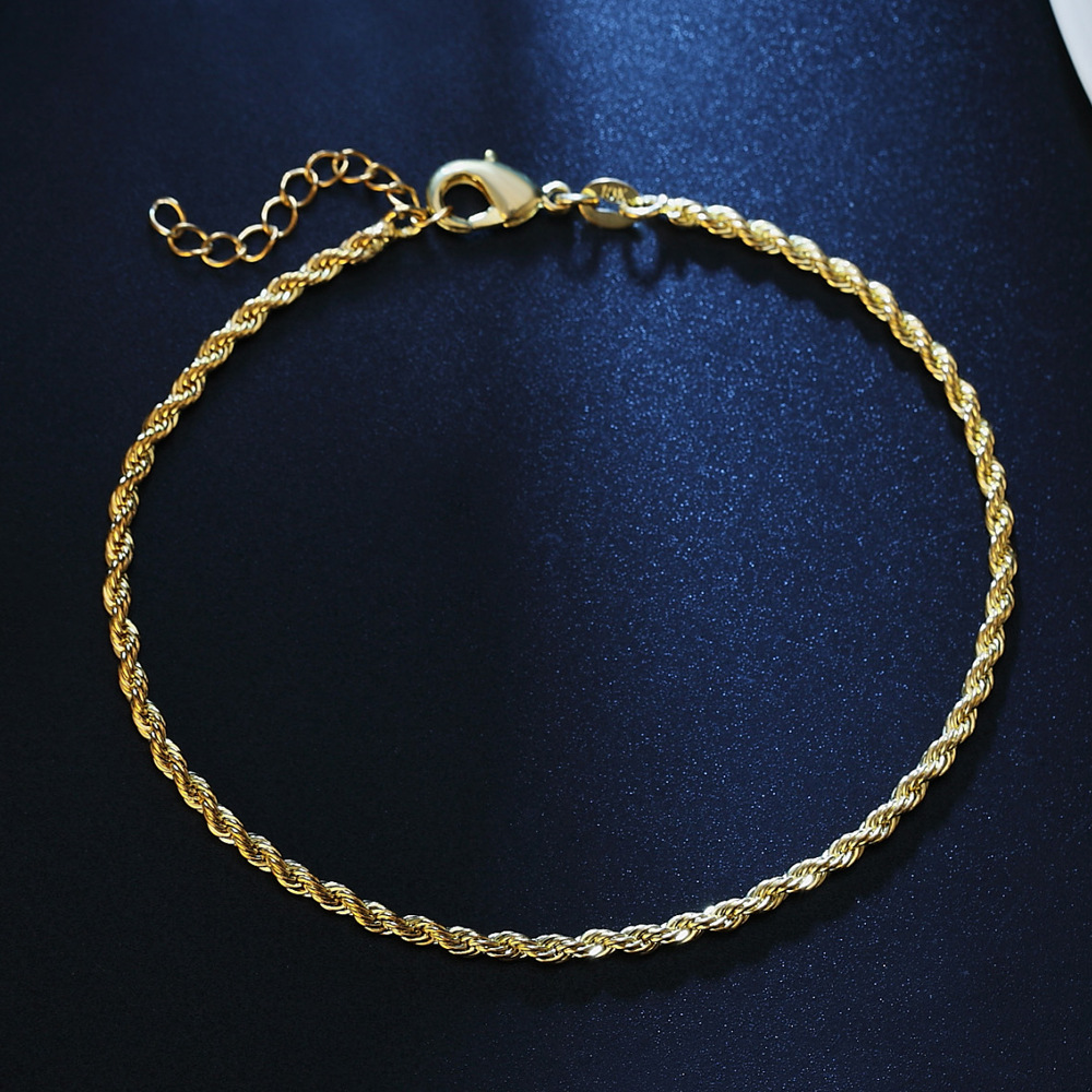 Classic Thin Twist Chain Women Anklets Bracelet Silvery/Gold Color 2mm Width Chain Ankle Jewelry Gift