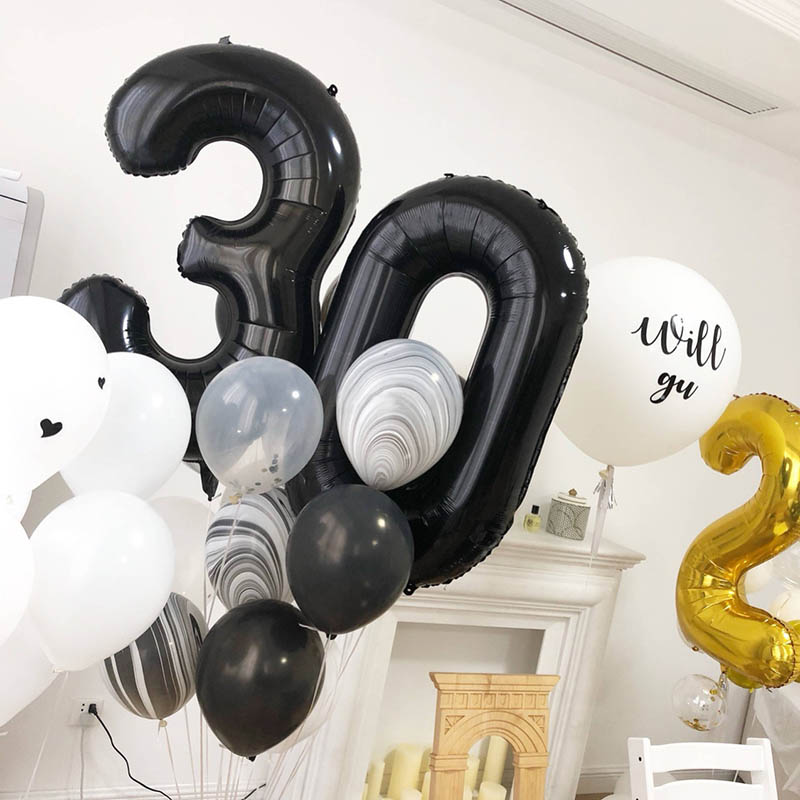 32&40'' Black <font><b>Number</b></font> <font><b>Balloon</b></font> foil <font><b>balloons</b></font> 0 1 2 3 4 5 6 7 <font><b>8</b></font> 9 Black Birthday Anniversary celebration Baby Shower party <font><b>balloons</b></font> image