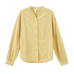 Image 5 - INMAN, весна 2020, Новое поступление, Литературная Женская хлопковая блузка с v образным вырезом, цветочным кружевом, в стиле пэчворк, с длинным рукавом, женская элегантная блузка