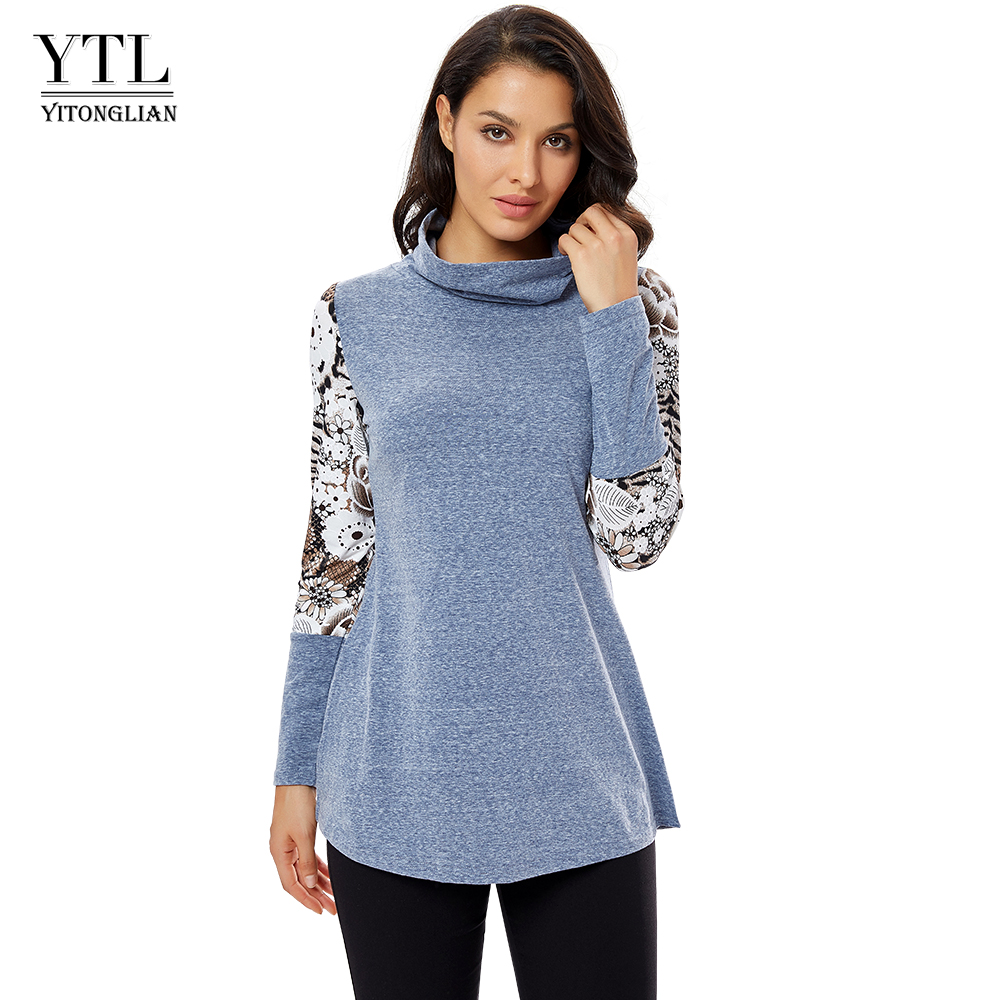 YTL Womens Tops Long Sleeve Turtlenecks Pullover Ladies For Autumn Winter Printed Patchwork Loose Layered Tunic Top T-shirt H258