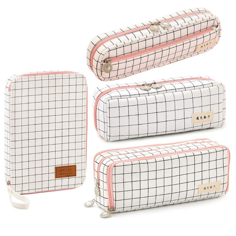 Girls Pencil Case Large Capacity Durable Stationery Box Check Pattern School
