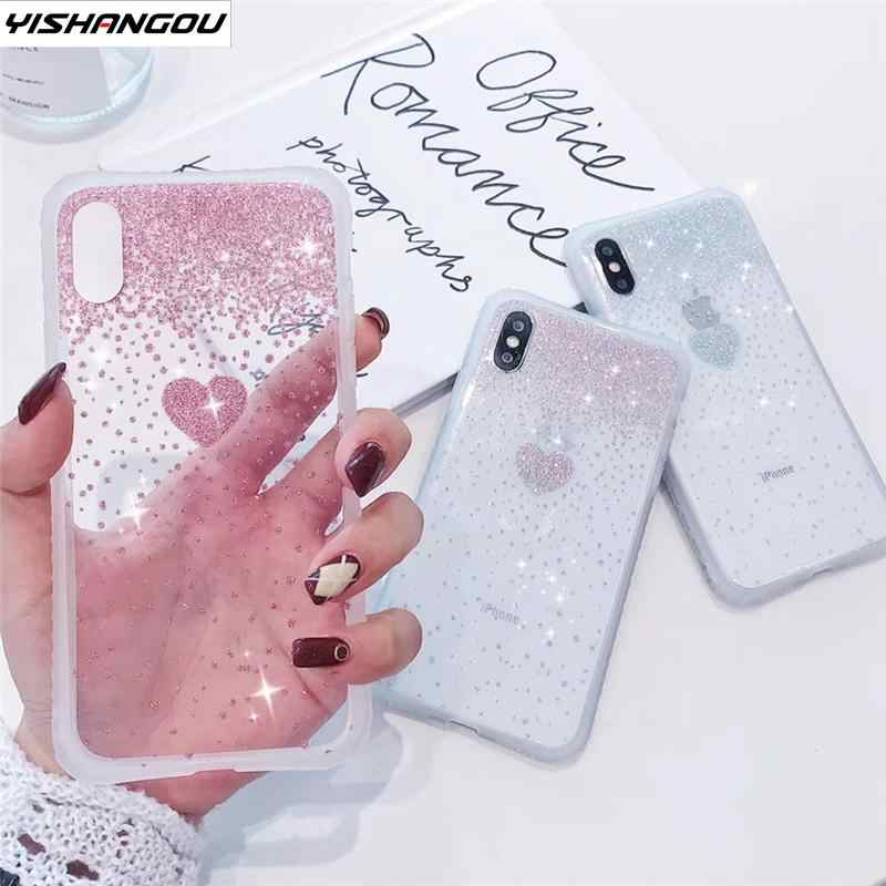 YISHANGOU Shockproof Bumper Glitter Case For iPhone XR X XS Max XS 8 7 Plus 6s 6 Case Luxury Love Heart Clear Back Soft Cover