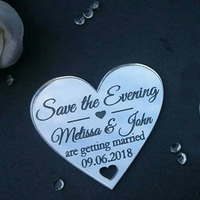 Save the date personalised heart fridge magnets laser cut engraved wedding Decoration Acrylic silver mirror
