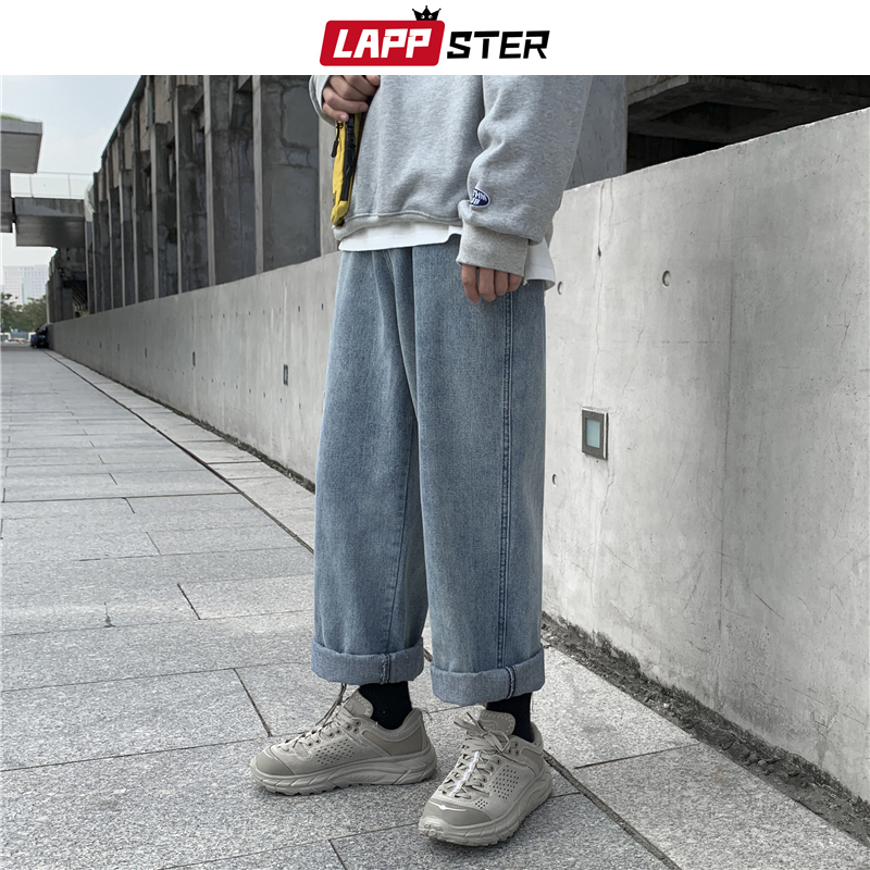 LAPPSTER Men Streetwear Wide Leg Blue Jeans Harem Pants 2019 Denim Men Korean Fashions Black Jeans High Waist Designer Clothes