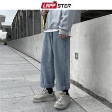 LAPPSTER Men Streetwear Wide Leg Blue Jeans Harem Pants 2020 Denim Men Korean Fashions Black Jeans High Waist Designer Clothes