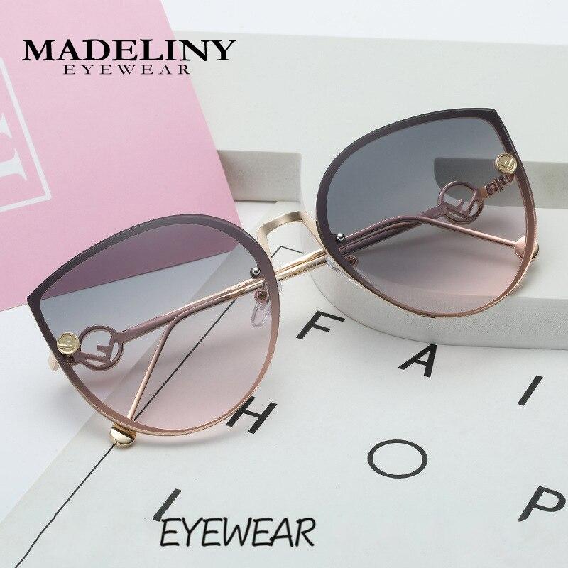 MADELINY New Luxury Brand Design Cat Eye sunglasses Women Mirror Vintage Rimless Sun Glasses Gafas Gradient ocean lens MA336 1
