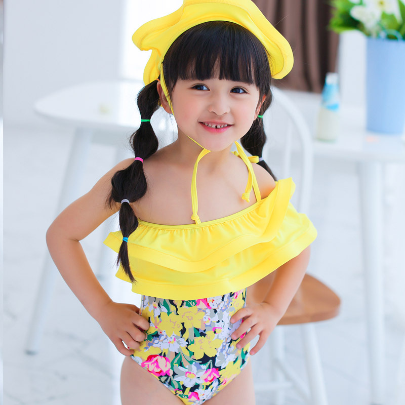 Japanese-style Sweet One-piece Swimsuit For Children Girls Swimwear South Korea Triangular Flounced Small Children Hot Springs S