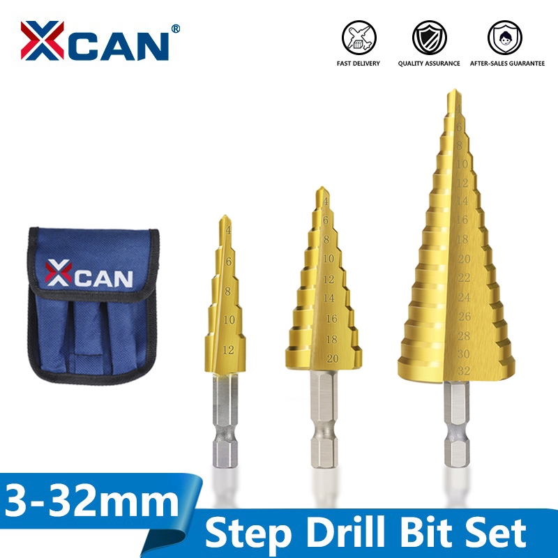 XCAN 3-13 4-12 4-20 4-32mm HSS Titanium coated Stepped Drill Bit Power Tools Accessories Wood Metal Hole Cutter Cone Drill