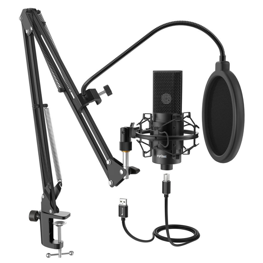 FIFINE USB คอนเดนเซอร์ไมโครโฟนไมโครโฟนปรับเดสก์ท็อป MIC ARM & shock Mount สำหรับ Studio การบันทึก YouTube เสียงเสียง