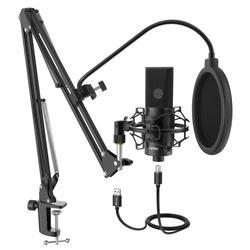 FIFINE USB micrófono condensador PC de escritorio con micrófono ajustable brazo y soporte de choque para grabación de estudio voz de YouTube