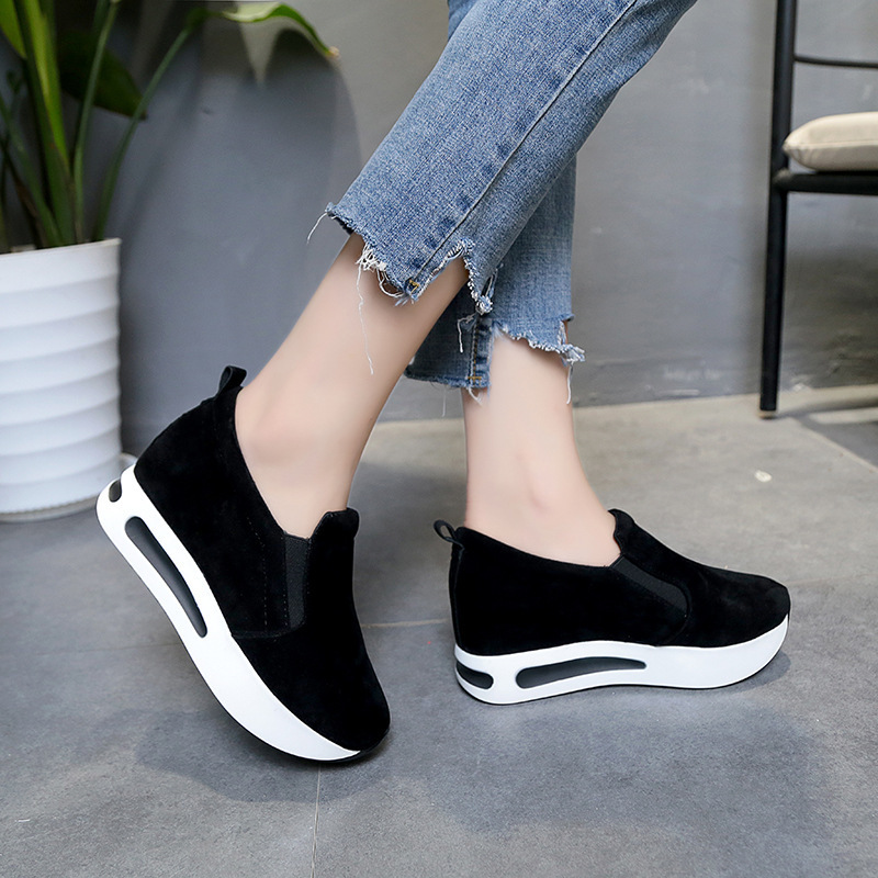 E TOY WORD New thick soled shoes round toe students height increase women shoes casual breathable sneakers slip on single shoes in Women 39 s Vulcanize Shoes from Shoes