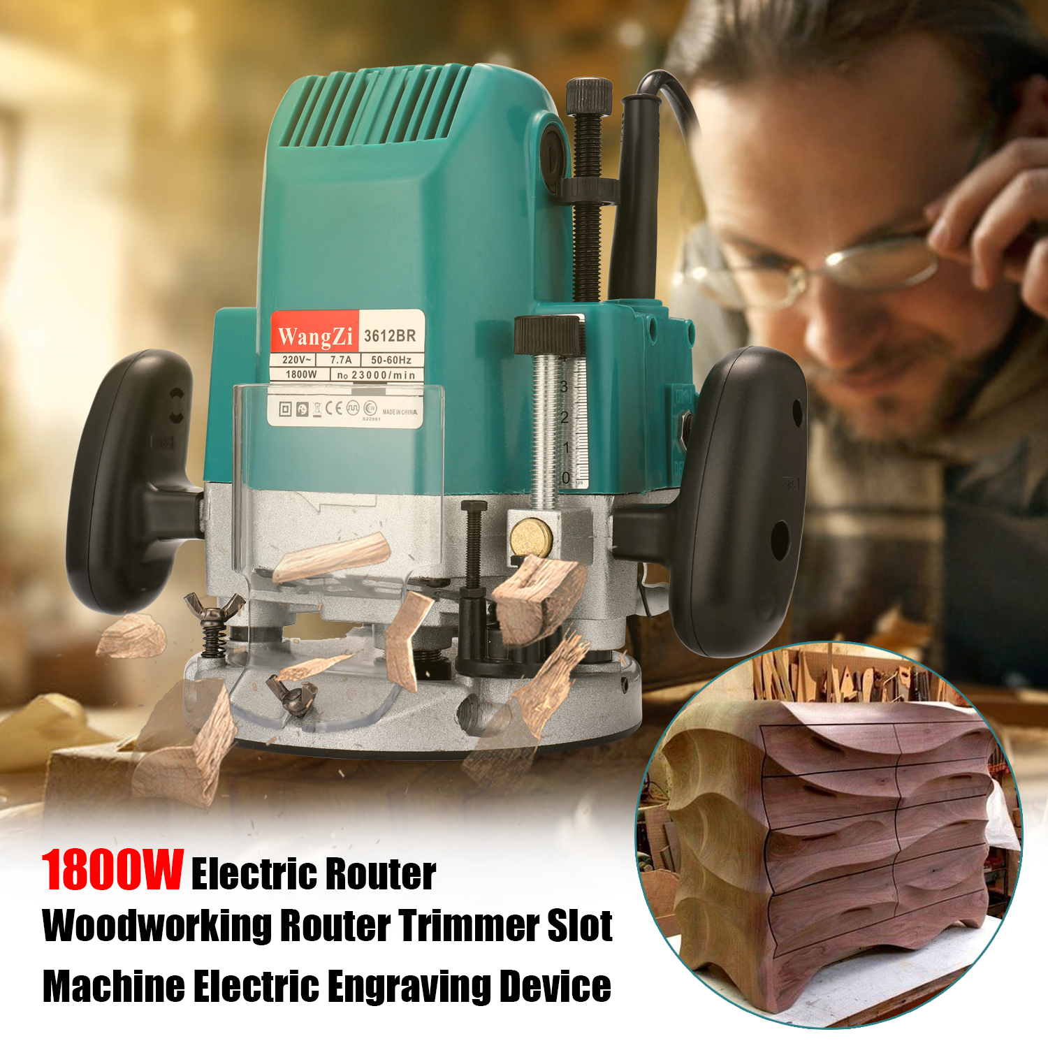 1800W Woodworking Electric Trimmer Wood Milling Engraving Slotting Trimming Machine Hand Carving Machine Wood Router - 5
