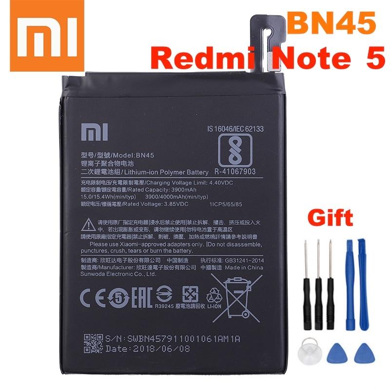 Оригинальный аккумулятор Xiao Mi BN45 4000 мАч для Xiaomi Redmi Note 5 Высококачественные сменные батареи для телефона