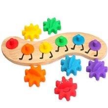 Conjunto de engrenagens de madeira e plástico brinquedos percepção de cor brinquedos educativos montessori material auxiliares de ensino