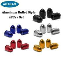 AQTQAQ 4 pièces/ensemble noir Auto pneu roue Valve capuchon balle forme aluminium anti-poussière Trye tige Air housse rouge bleu argent or
