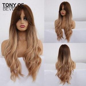 Image 4 - ロング波状合成かつら黒人女性のためのアフリカ系アメリカ人オンブル茶色と自然な髪のかつら前髪耐熱コスプレかつら
