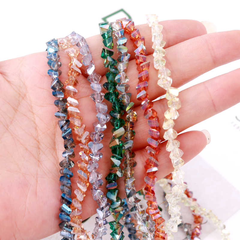 Faceted Crystal Glass Beads Jewelry Making Loose Spacer Beads 6*4mm Triangle