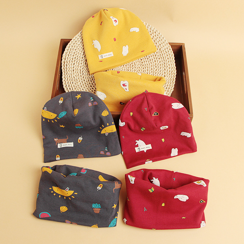 19 Autumn And Winter Cartoon Children's Set Of Head Cap Scarf Collar Two-Piece Printed Baby Hat Scarf Set