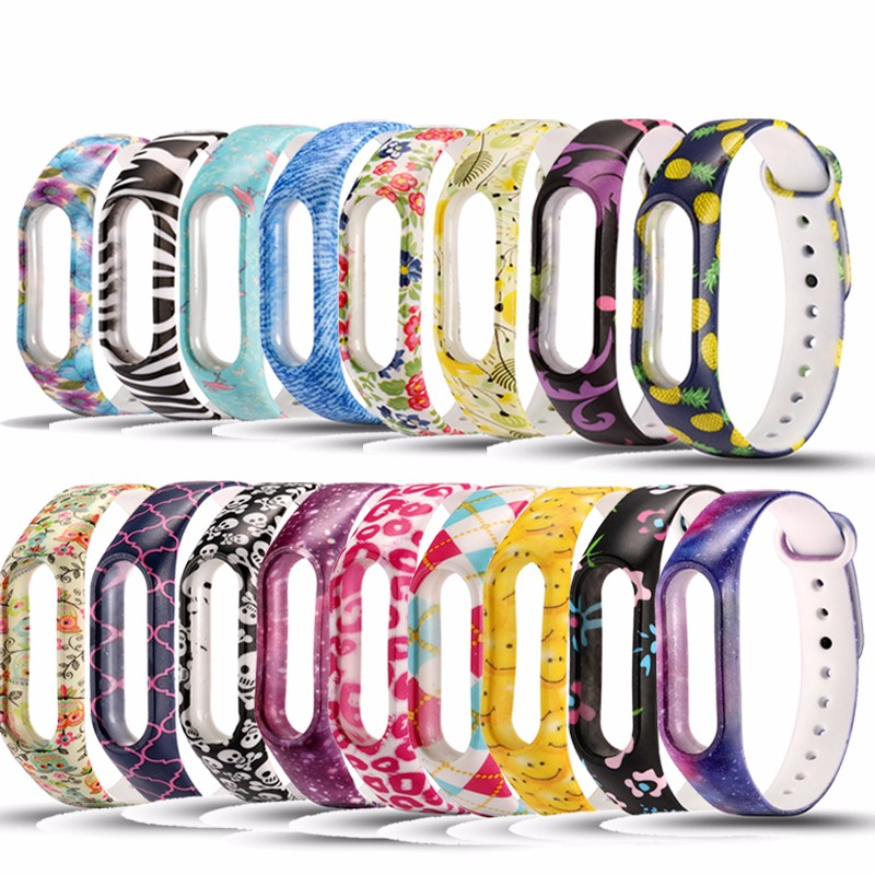 2019 Colorful Varied Flowers Miband 2 Strap Silicone Wristband Replacement Mi Band 2 Straps For Xiaomi Fashion