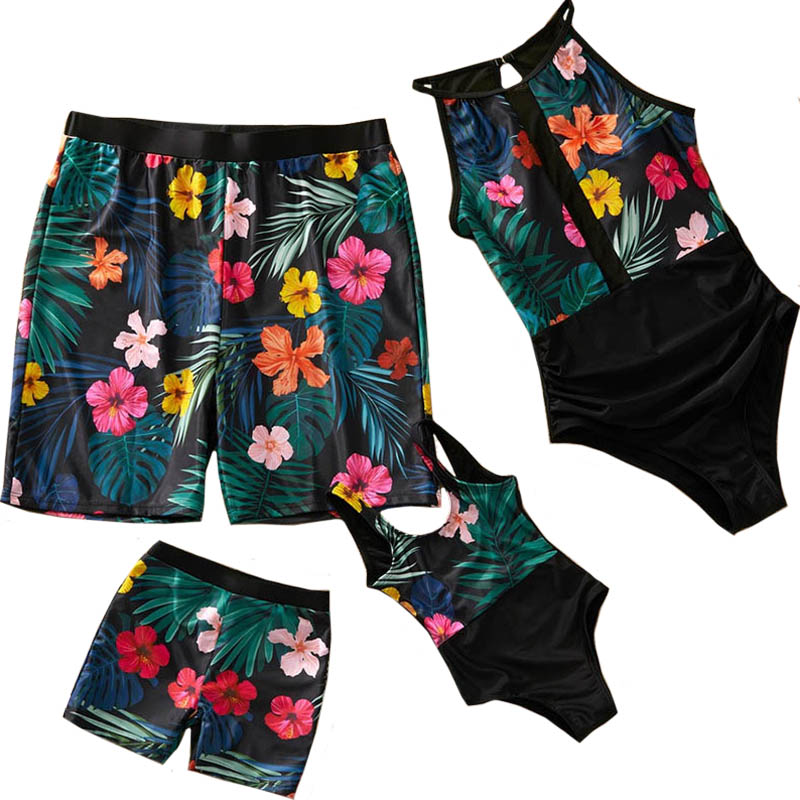 Family Look Mom And Daughter Swimsuit Dad Son Beach Shorts Patchwork Printed Mesh Mommy And Me Swimming Suit