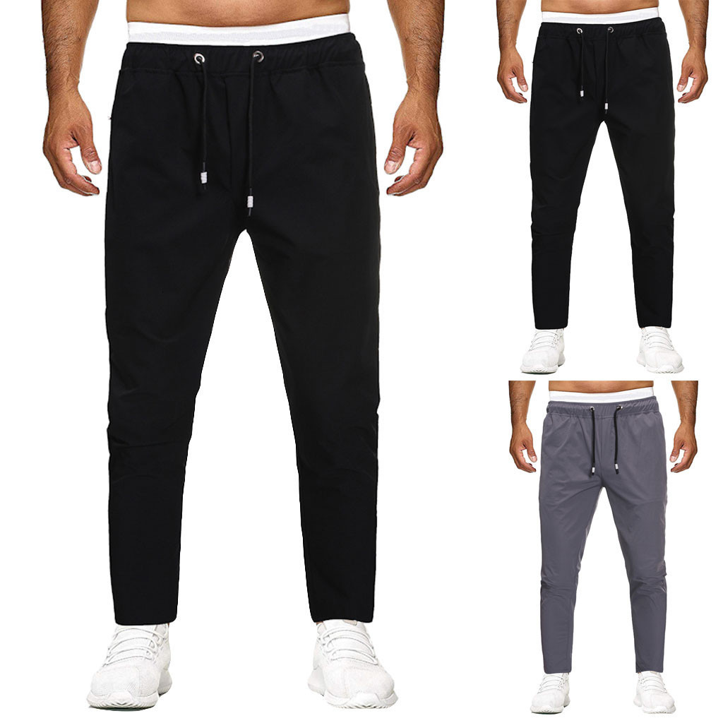 Men Joggers Sweatpants Men's Joggers Trousers Men Pocket Pure Color Overalls Casual Pocket Sport Work Casual Trouser Pants 29-36