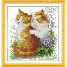 Everlasting love Christmas Kissing cats (2) Chinese cross stitch kits Ecological cotton  stamped 11 CT New store sales promotion everlasting love the beach path among the flowers chinese cross stitch kits ecological cotton stamped 11 ct new sales promotion