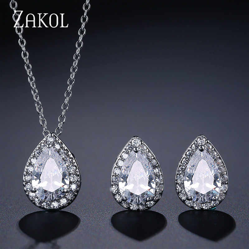 ZAKOL Hot Sale White Color Jewelry Sets Fashion Teardrop Cubic Zirconia Jewelry For Women Engagement Fast Delivery FSSP267