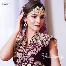 New Morocco Algeria Wedding Headpiece Rhinestone Bridal Headwear Luxury Gold Wedding Hair Accessories  Bridal Headdress