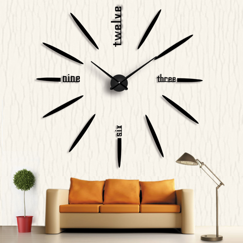 3D large wall clock Creative DIY Acrylic mirror gold sliver black red self-adhesive wallsticker Silent