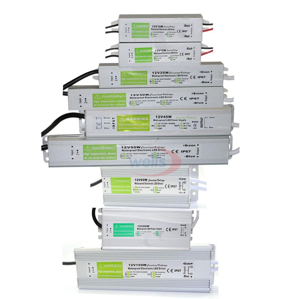 Su geçirmez IP67 LED sürücü Ac dc 12 V/24 V 10W 15W 20W 25W 30W 36W 45W 50W 60W 80W 100W 120W 150W güç kaynağı LED şerit ışık