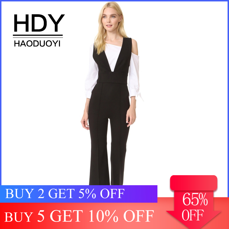 HDY Haoduoyi Women's Deep V Neck Strappy Cross Back   Jumpsuit   Romper Sleeveless Playsuit Black Pants Party Club Cropped Trousers